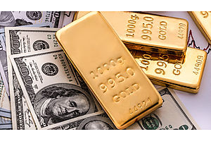 gold futures finish higher, dollar lower in volatile trading