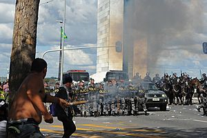 brazilian ministry building set on fire as protests turn violent
