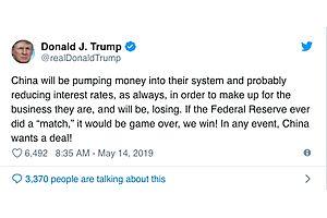 Trump Says If Fed Cuts Interest Rates, US Will Win Trade War
